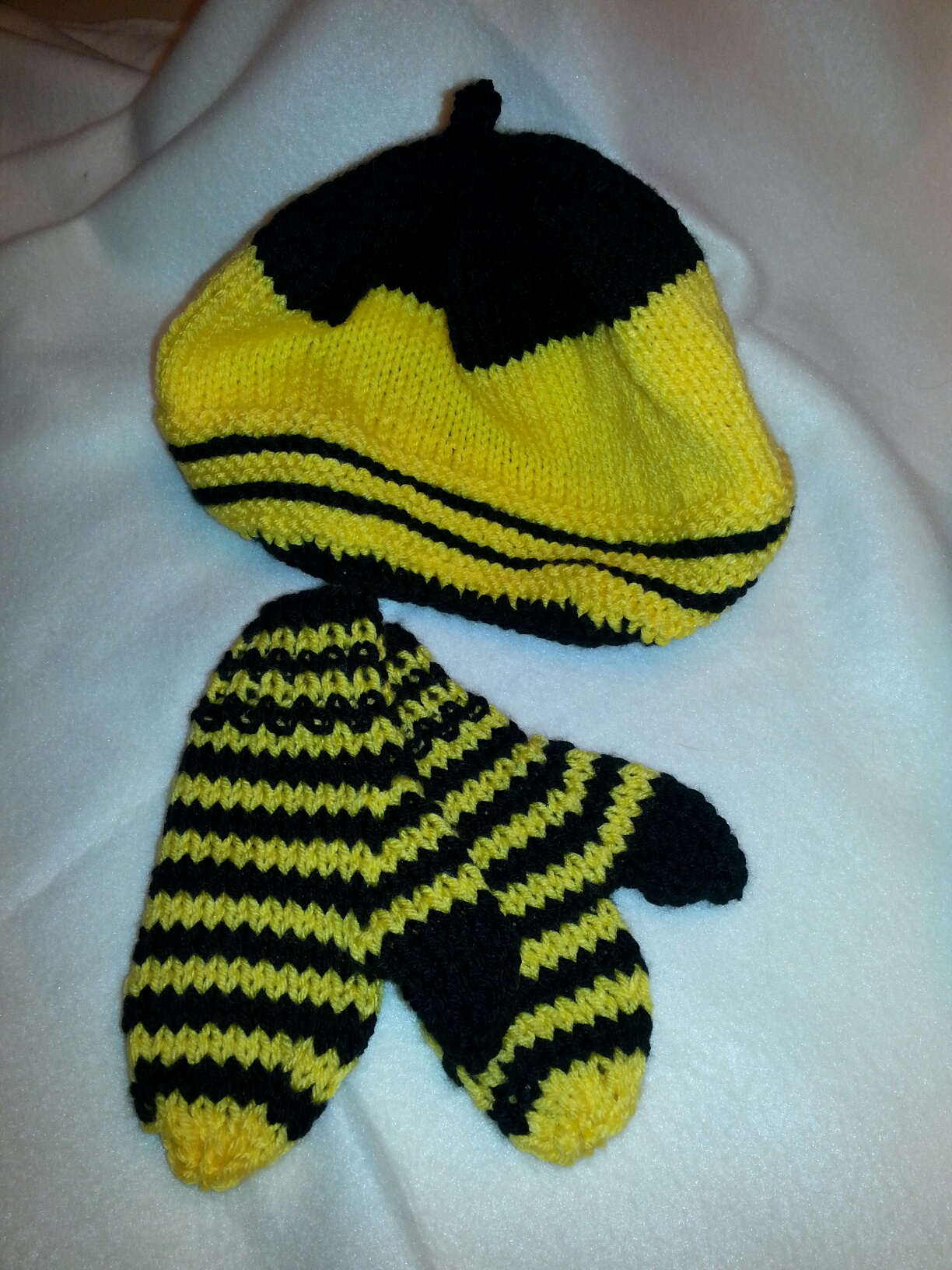 Bumble Bee Hat and Mittens